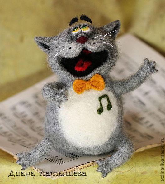 Игрушки животные, ручной работы. Ярмарка Мастеров - ручная работа. Купить Оперный кот Мяучано. Handmade. Серый, войлочный кот