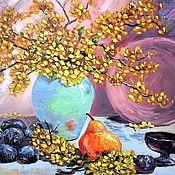 Картины и панно handmade. Livemaster - original item Pattern with plums
