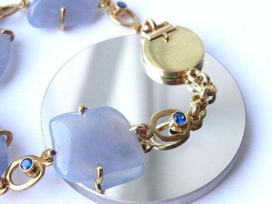Браслеты ручной работы. Ярмарка Мастеров - ручная работа. Купить Серебряный браслет с природными камнями (голубой халцедон). Handmade. Голубой