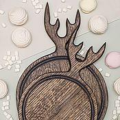 Посуда handmade. Livemaster - original item Set of round boards with horns 25 and 30 cm, color
