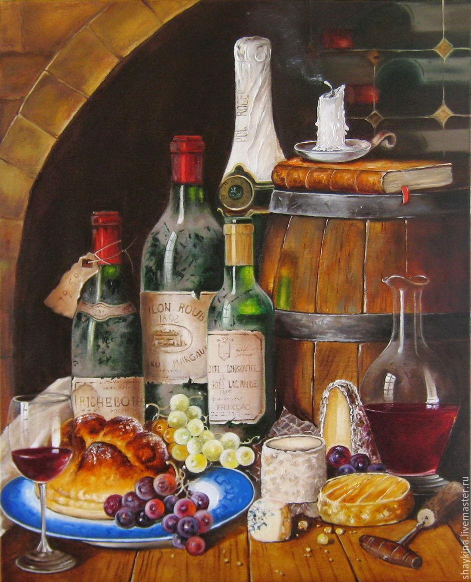 Картина маслом Натюрморт с вином и сыром, масло холст ( Р. Кэмбэл), Картины, Сыктывкар, Фото №1