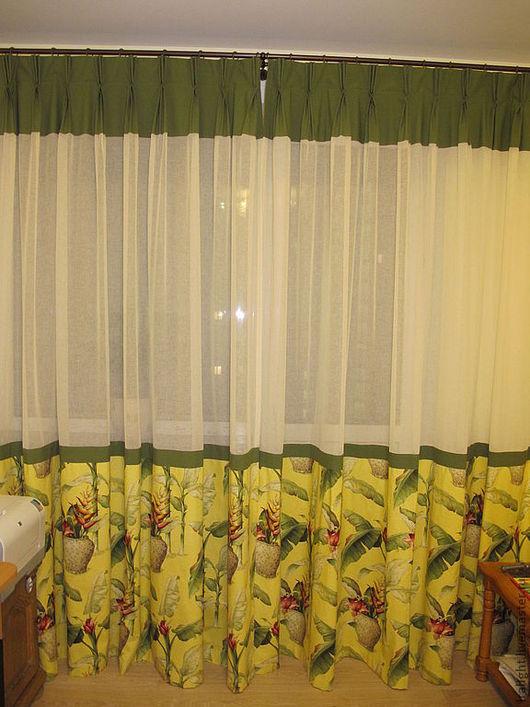 Текстиль, ковры ручной работы. Ярмарка Мастеров - ручная работа. Купить Шторы в гостиную Тропики. Handmade. Шторы для гостиной, портьеры