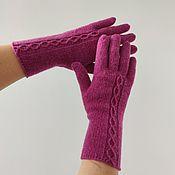 Аксессуары handmade. Livemaster - original item Women`s knitted gloves in fuchsia color.. Handmade.