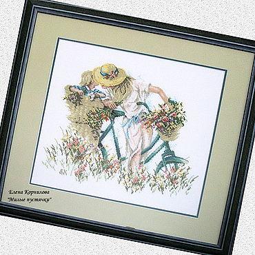 """Картины и панно ручной работы. Ярмарка Мастеров - ручная работа Вышитая картина """" Велосипедная прогулка"""". Handmade."""