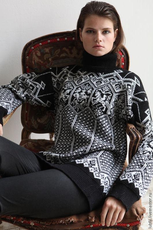 Кофты и свитера ручной работы. Ярмарка Мастеров - ручная работа. Купить Норвежская сказка. Handmade. Чёрно-белый, джемпер женский