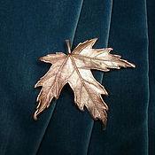 Украшения ручной работы. Ярмарка Мастеров - ручная работа Кленовый лист брошь медь посеребрённая, патина. Handmade.