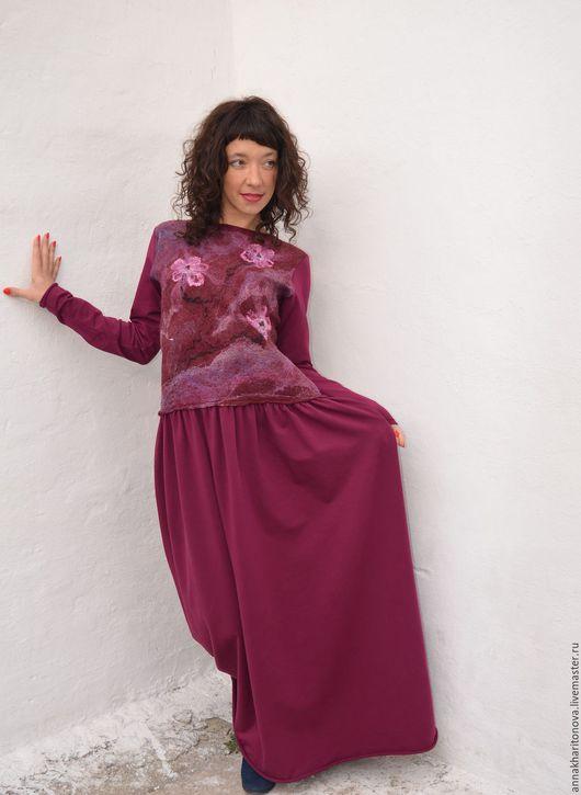 """Платья ручной работы. Ярмарка Мастеров - ручная работа. Купить Платье """"Сакура"""". Handmade. Бордовый, платье бордовое, футер"""