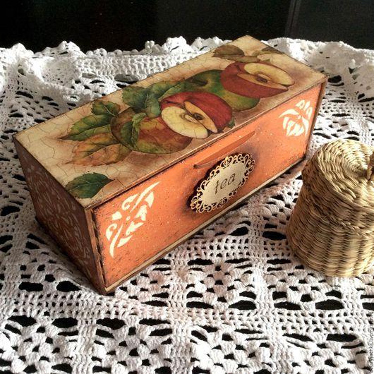 Кухня ручной работы. Ярмарка Мастеров - ручная работа. Купить Коробка для чайных пакетиков. Handmade. Коробка для чая, яблочный декор