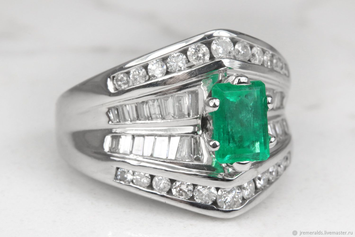 2.60Ct Deep Green Colombian Emerald & Round Diamond Engagement Ring 14, Rings, West Palm Beach,  Фото №1