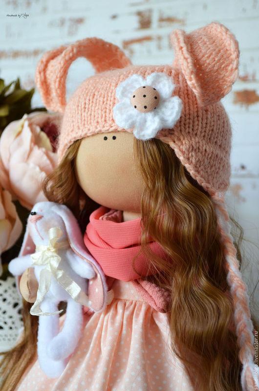 Куклы тыквоголовки ручной работы. Ярмарка Мастеров - ручная работа. Купить Персиковая Зайка. Handmade. Бежевый, кукла интерьерная