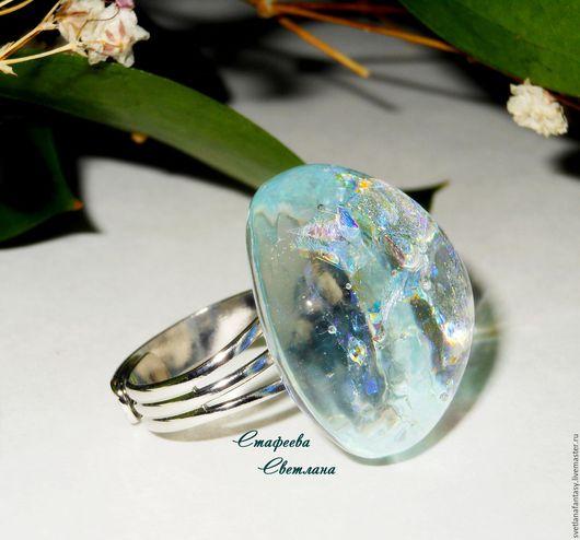 """Кольца ручной работы. Ярмарка Мастеров - ручная работа. Купить """"Хрустальная мечта"""" кольцо из стекла, фьюзинг. Handmade. Фьюзинг украшения"""