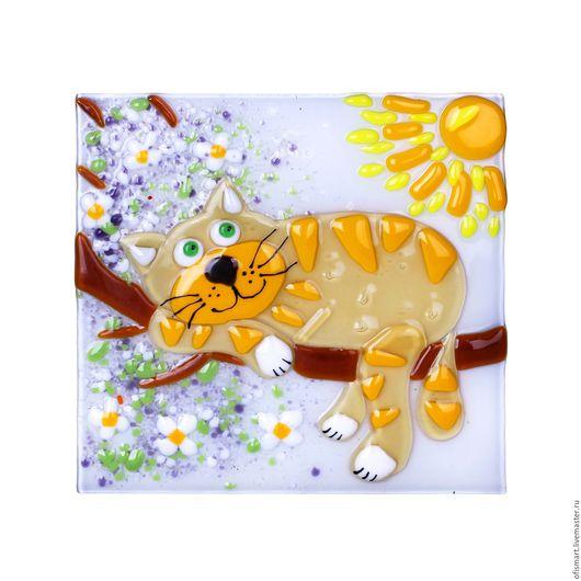 """Животные ручной работы. Ярмарка Мастеров - ручная работа. Купить Панно настенное """"Кот на дереве"""". Handmade. Оранжевый, панно настенное"""