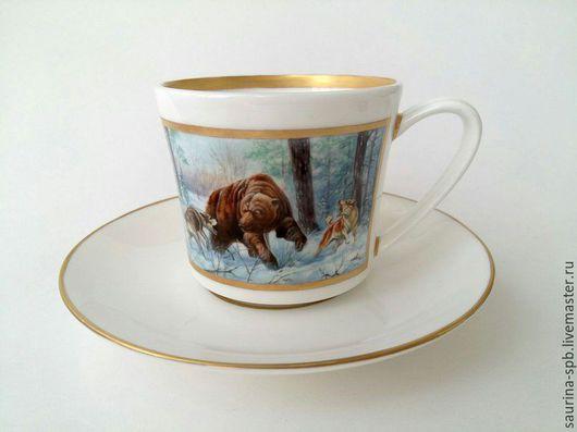 Персональные подарки ручной работы. Ярмарка Мастеров - ручная работа. Купить Чайная чашка с блюдцем Охота на медведя. Handmade. Охотнику