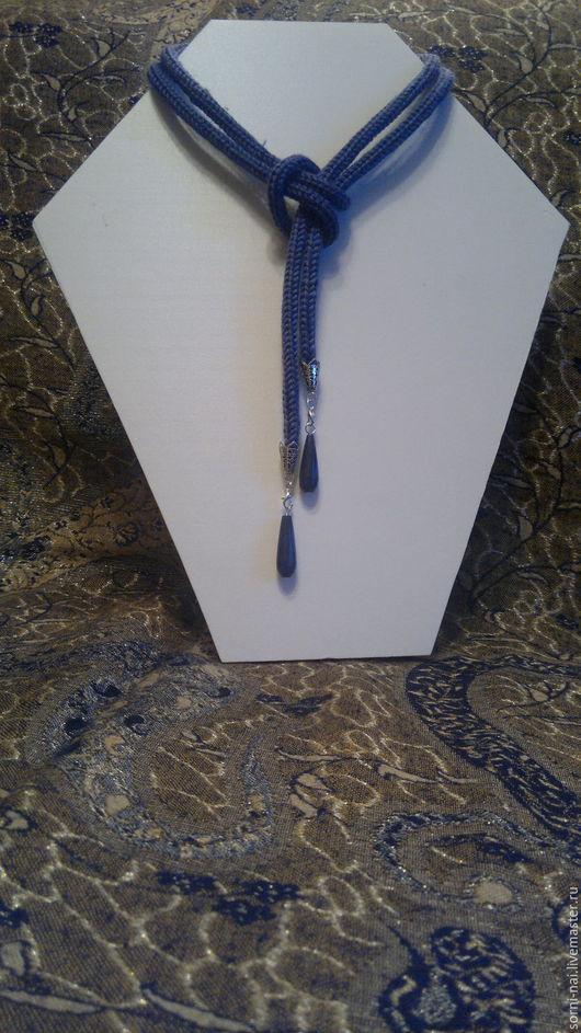"""Шарфы и шарфики ручной работы. Ярмарка Мастеров - ручная работа. Купить Шарф-шнурок """"Деним"""". Handmade. Тёмно-синий, на шею"""