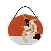 Сумки и аксессуары handmade. Livemaster - original item Women`s round bag made of wood with artistic painting of Geese. Handmade.
