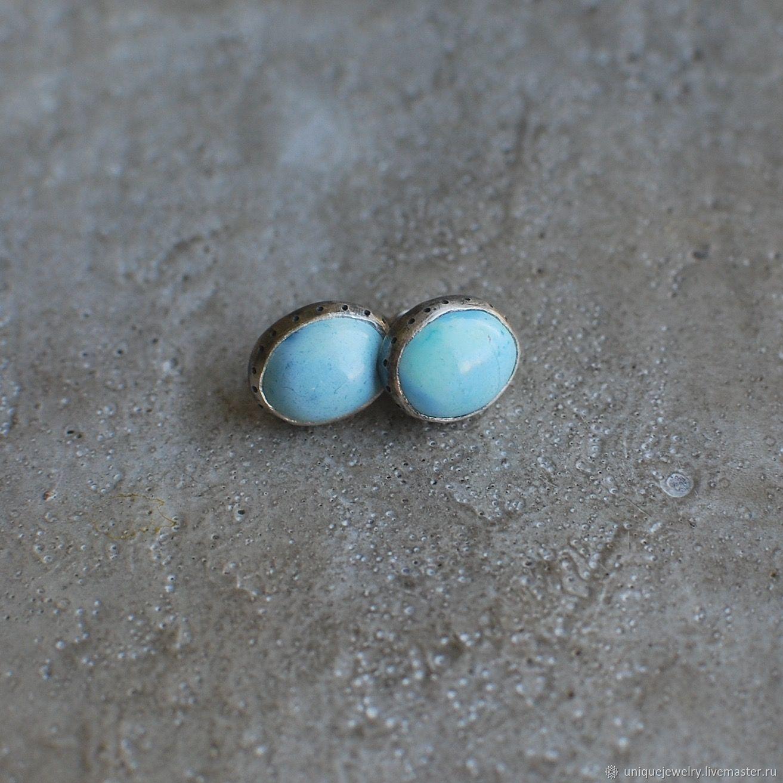 Silver stud earrings with Kazakhstan turquoise, Stud earrings, Moscow,  Фото №1