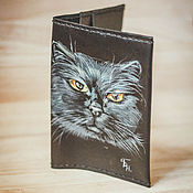Cover handmade. Livemaster - original item Passport cover ,,the cat Behemoth