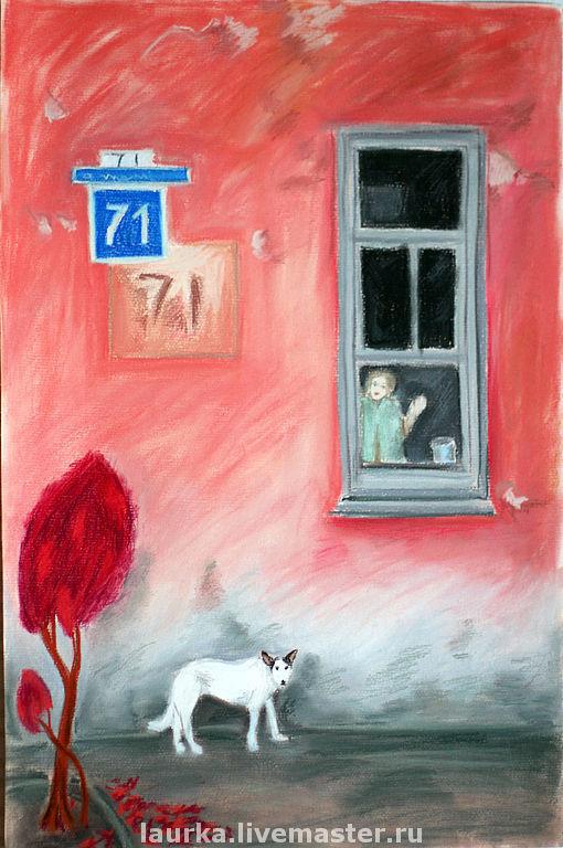"""Город ручной работы. Ярмарка Мастеров - ручная работа. Купить Картина """"дом 71"""". Handmade. Город, собачка, карандаши пастельные"""