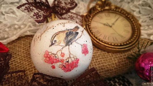 Новый год 2017 ручной работы. Ярмарка Мастеров - ручная работа. Купить Набор елочных шаров декупаж Птички, набор елочных украшений. Handmade.