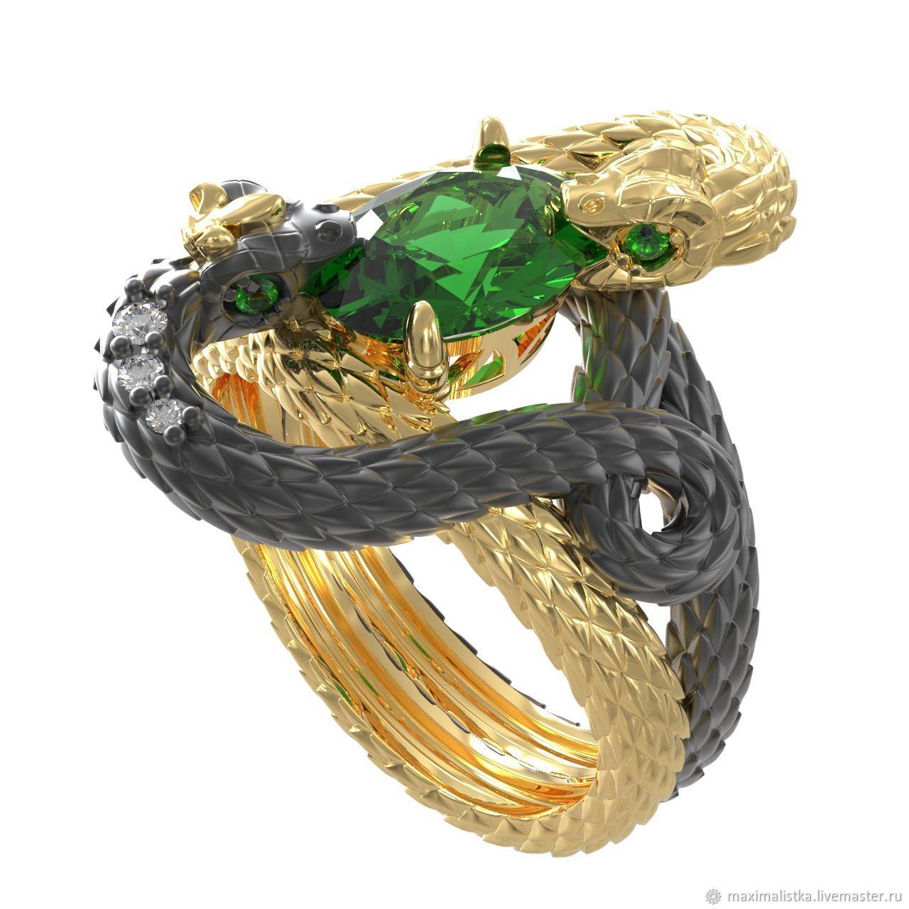 """Золотое кольцо """"Королевские змеи"""" с  изумрудом, Rings, Moscow,  Фото №1"""