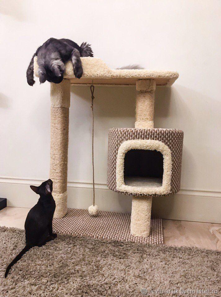 Аксессуары для кошек, ручной работы. Ярмарка Мастеров - ручная работа. Купить Комплекс для кошек, когтеточка. Handmade. Белый, кошачий комплекс