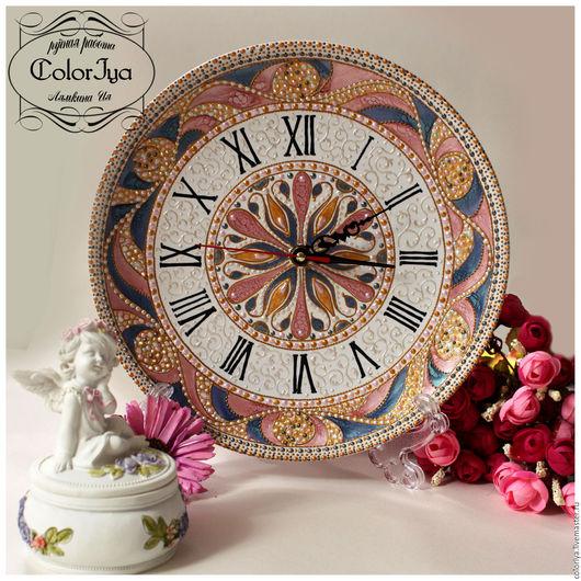 """Часы для дома ручной работы. Ярмарка Мастеров - ручная работа. Купить Часы интерьерные """"Маргрит"""". Handmade. Розовый"""