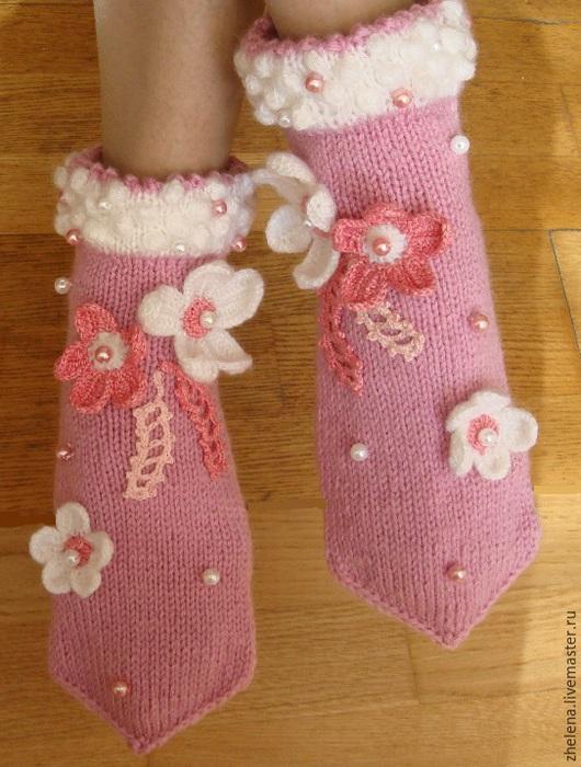 """Обувь ручной работы. Ярмарка Мастеров - ручная работа. Купить Вязаные носкотапки """"Розовый зефир"""". Handmade. Розовый, бусины"""