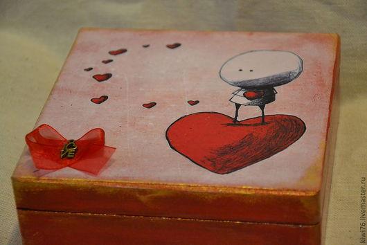 """Шкатулки ручной работы. Ярмарка Мастеров - ручная работа. Купить Шкатулка """"Шелковое сердце"""". Handmade. Ярко-красный, nonnetta, заготовка"""