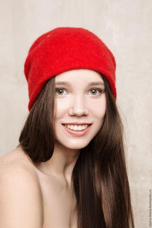 Шапки ручной работы. Ярмарка Мастеров - ручная работа. Купить Шапка женская вязаная «колпак» 1522V01 красный. Handmade. шапка