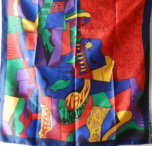 """Винтажная одежда и аксессуары. Ярмарка Мастеров - ручная работа. Купить Винтажный платок """"Пикассо"""". Handmade. Комбинированный, винтажные платки"""