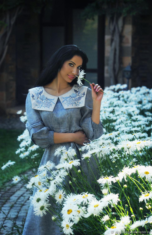 Linen dress with hand embroidery ' Midsummer', Dresses, Vinnitsa,  Фото №1