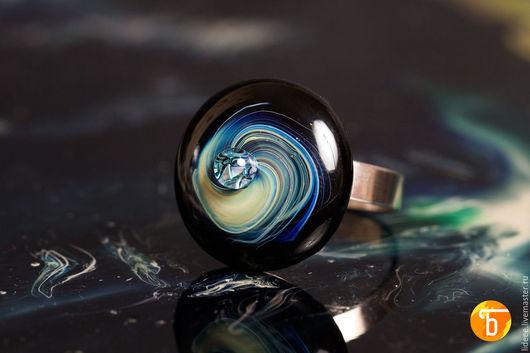 Кольца ручной работы. Ярмарка Мастеров - ручная работа. Купить Кольцо из стекла - Комета - фьюзинг. Handmade. Стекло