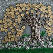 Оберег ручной работы. Ярмарка Мастеров - ручная работа Панно денежное дерево Светлячки трава камни феншуй. Handmade.