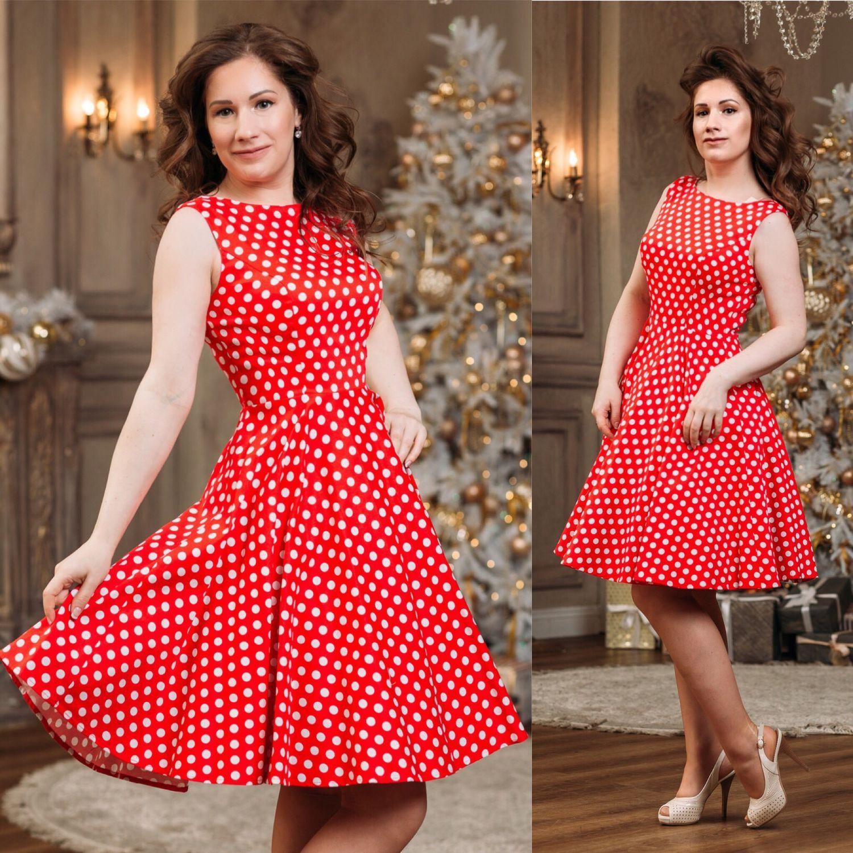 edc597bcc7b Ретро платье красное в белый горошек – купить в интернет-магазине на ...