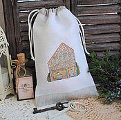 """Для дома и интерьера ручной работы. Ярмарка Мастеров - ручная работа Мешочек """"Фермерский домик"""" с вышивкой. Handmade."""