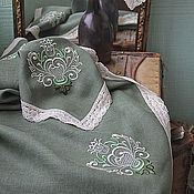 Для дома и интерьера ручной работы. Ярмарка Мастеров - ручная работа Комплект льняной зеленый с вышивкой. Handmade.