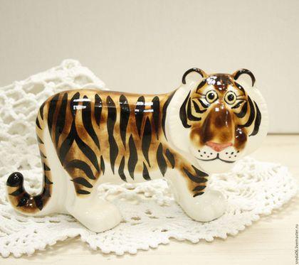 Статуэтки ручной работы. Ярмарка Мастеров - ручная работа. Купить Тигр. Handmade. Оранжевый, тигр статуэтка, фарфор