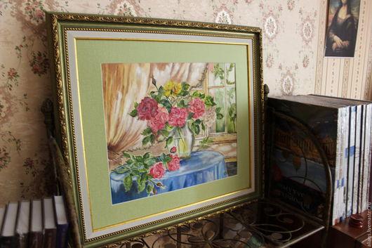 Картины цветов ручной работы. Ярмарка Мастеров - ручная работа. Купить натюрморт с розами. Handmade. Комбинированный, картина для интерьера, розы