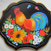 Для дома и интерьера ручной работы. Ярмарка Мастеров - ручная работа поднос -панно  с Петухом. Handmade.