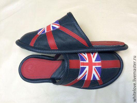 Обувь ручной работы. Ярмарка Мастеров - ручная работа. Купить Union Jack- кожаные тапочки воздушные. Handmade. Тёмно-синий