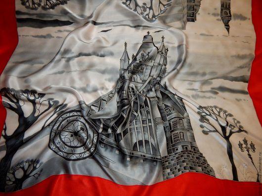 """Шали, палантины ручной работы. Ярмарка Мастеров - ручная работа. Купить Платок батик """"Лондонский дождь"""". Handmade. Батик платок"""