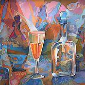 """Картины и панно ручной работы. Ярмарка Мастеров - ручная работа Батик """"Натюрморт с бутылками"""". Handmade."""
