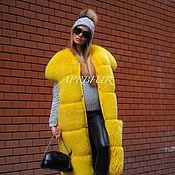 Одежда ручной работы. Ярмарка Мастеров - ручная работа Жилет меховой длинный цвет electric yellow. Handmade.