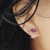 Украшения handmade. Livemaster - original item Jewelry from pottery - Pansy - flowers for decorations. Handmade.