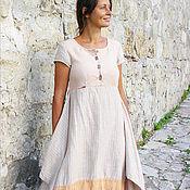 Одежда ручной работы. Ярмарка Мастеров - ручная работа Платье молочное полосатое. Handmade.