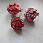 """Украшения ручной работы. Ярмарка Мастеров - ручная работа Кольцо """"Букет роз"""" разные цвета. Handmade."""