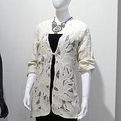 """Одежда ручной работы. Ярмарка Мастеров - ручная работа Кардиган валяный """"Белые цветы"""". Handmade."""