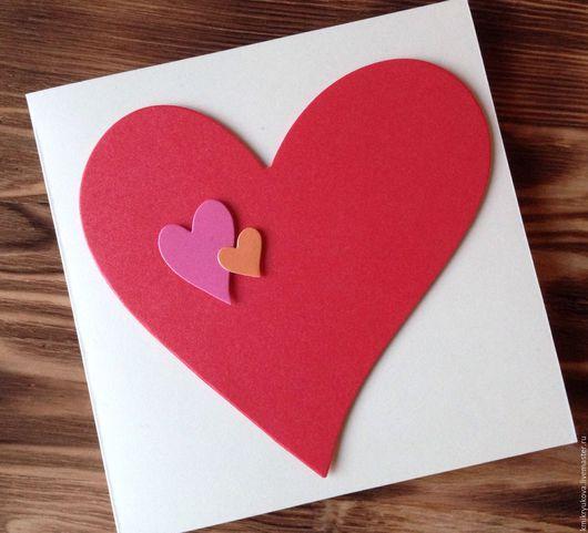 Открытки к другим праздникам ручной работы. Ярмарка Мастеров - ручная работа. Купить Открытка Сердце. Handmade. Ярко-красный, открытка