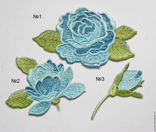 Аппликации, вставки, отделка ручной работы. Ярмарка Мастеров - ручная работа. Купить вышивка аппликация нашивка Розы небесного цвета embroidery. Handmade.