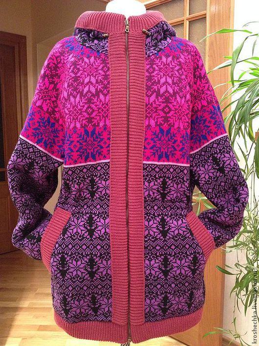 """Верхняя одежда ручной работы. Ярмарка Мастеров - ручная работа. Купить Куртка вязаная """"Яркая"""". Handmade. Орнамент, теплая одежда"""
